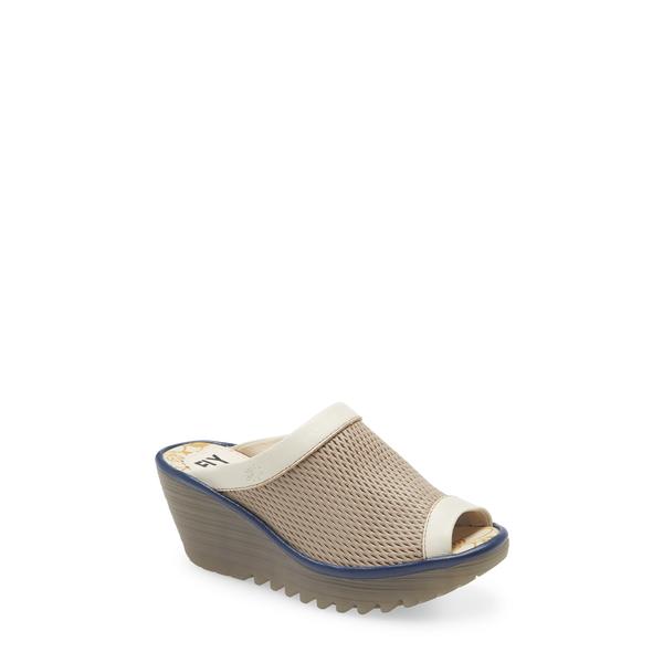 フライロンドン レディース サンダル シューズ Yeno Wedge Slide Sandal Greige/ Off White Leather
