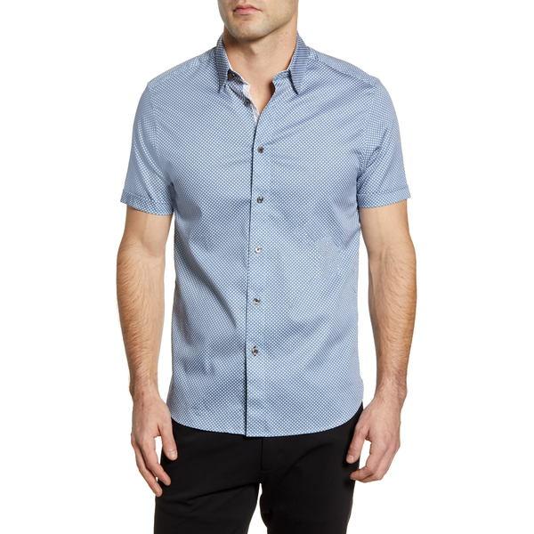 テッドベーカー メンズ シャツ トップス Norjas Slim Fit Short Sleeve Button-Up Shirt Blue