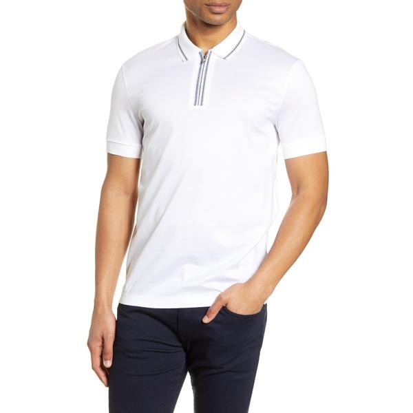 ボス メンズ シャツ トップス Paras Heathered Cotton Polo Shirt White