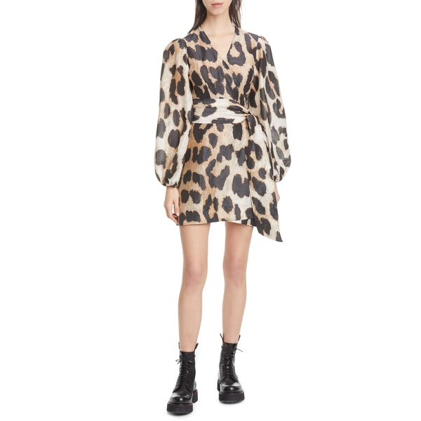ガニー レディース ワンピース トップス Leopard Print Long Sleeve Linen & Silk Wrap Dress Maxi Leopard 994