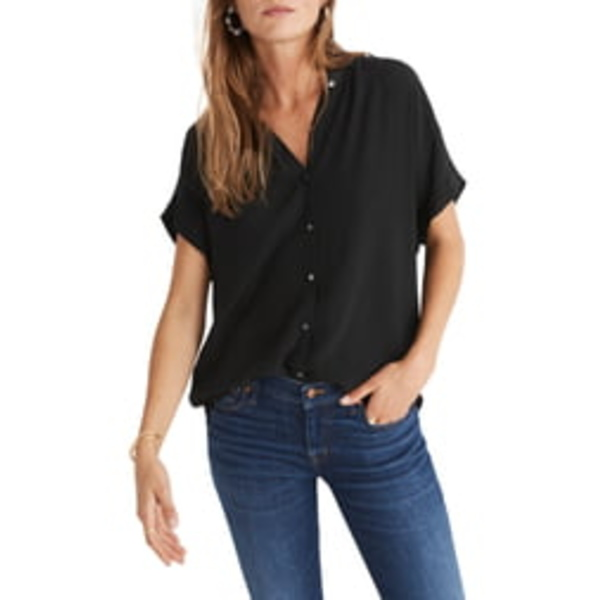 メイドウェル レディース シャツ トップス Central Drapey Shirt True Black