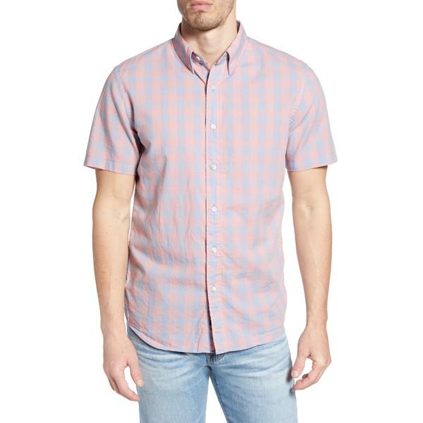 ファエティ メンズ シャツ トップス Movement Regular Fit Stretch Check Short Sleeve Button-Down Shirt Blue/ Rose Check