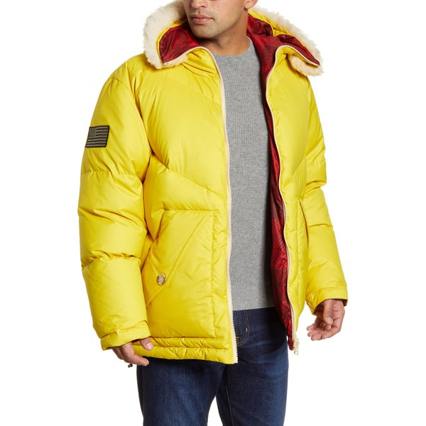 ウール リッチ メンズ ジャケット&ブルゾン アウター Expedition Reversible Down Parka with Genuine Shearling Trim Yellow