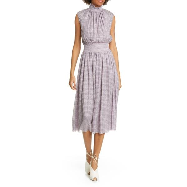 アダム リピズ レディース ワンピース トップス Smocked Metallic Silk Chiffon Midi Dress Lavender Multi