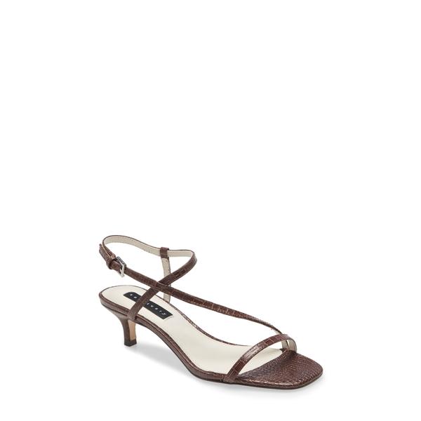 サンクチュアリー レディース サンダル シューズ Wave Kitten Heel Sandal Coffee Brown Leather