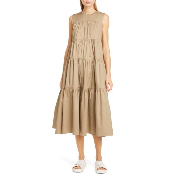 コー レディース ワンピース トップス Tiered Cotton Midi Dress Taupe