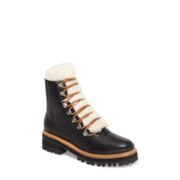 マーク・フィッシャー レディース ブーツ&レインブーツ シューズ Izzie Genuine Shearling Lace-Up Boot Black Leather