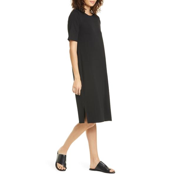 エイリーンフィッシャー レディース ワンピース トップス Stretch Tencel Lyocell T-Shirt Dress Black