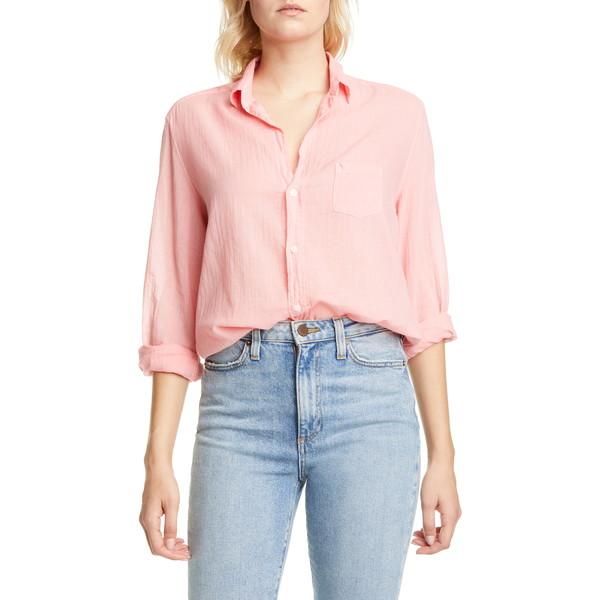フランク & アイリーン レディース シャツ トップス Cotton Voile Button-Up Shirt Flamingo Voile