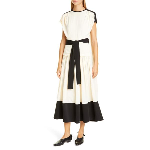 プロエンザショラー レディース ワンピース トップス Colorblock Drape Dress Ecru