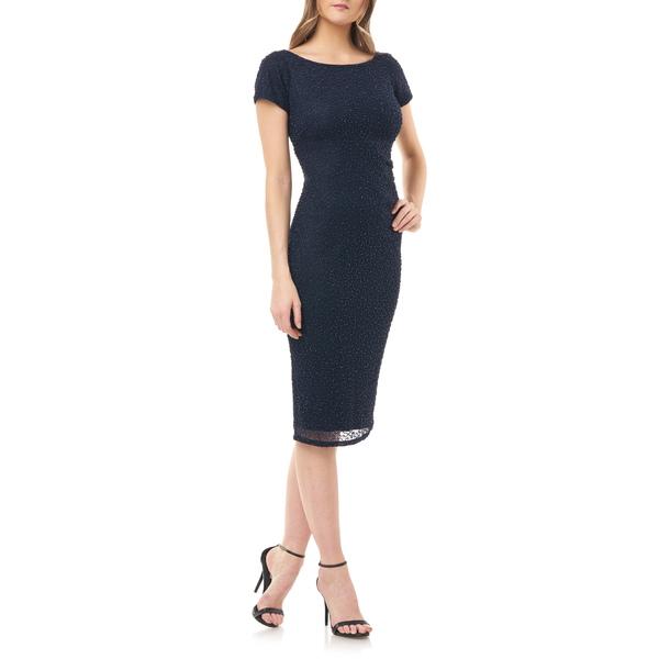 ジェイエスコレクションズ レディース ワンピース トップス Beaded Cocktail Dress Navy