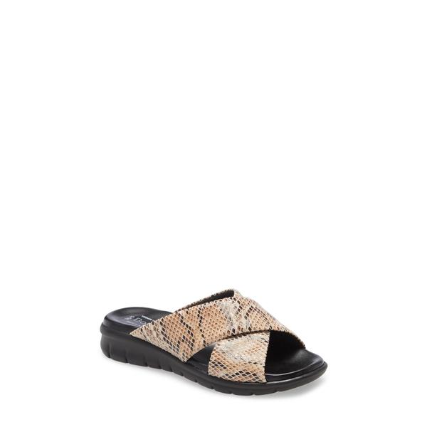 ボスアンドコー レディース サンダル シューズ Rouge Snake Embossed Slide Sandal Beige Snake Print Leather