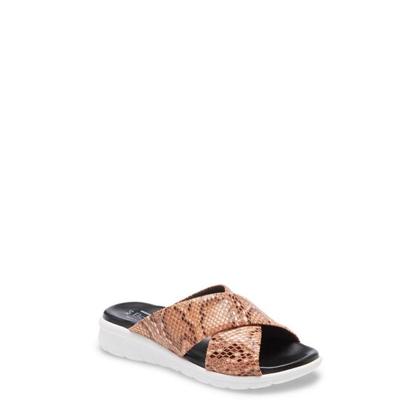 ボスアンドコー レディース サンダル シューズ Rouge Snake Embossed Slide Sandal Orange Snake Print Leather