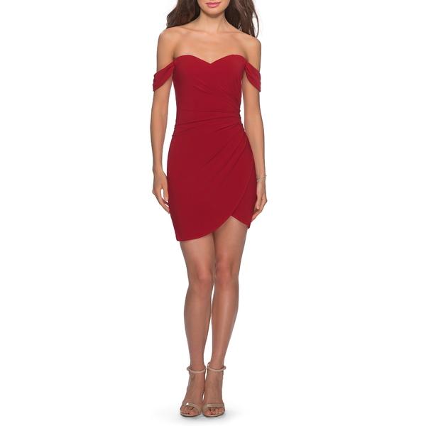 ラフェム レディース ワンピース トップス Off the Shoulder Ruched Soft Jersey Party Dress Red