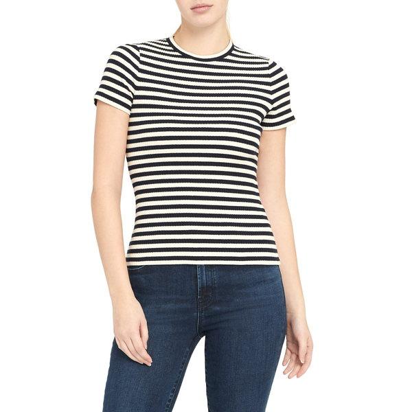 セオリー レディース Tシャツ トップス Stripe Tiny Tee Navy Multi
