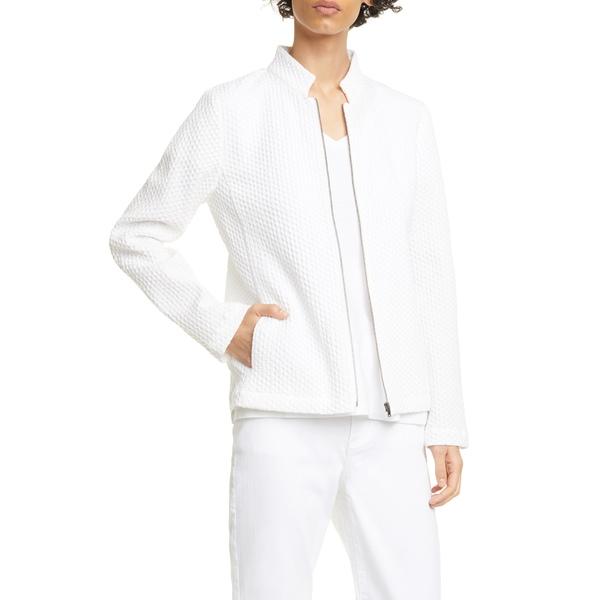 エイリーンフィッシャー レディース ジャケット&ブルゾン アウター Zip Front Jacquard Cotton Blend Jacket Ivory