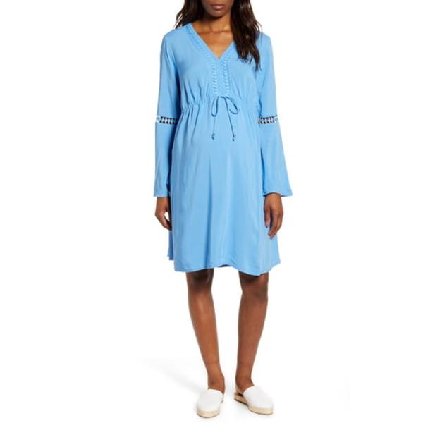 フォーティーンス プレイス レディース ワンピース トップス Long Sleeve Maternity Peasant Dress Blue Dawn