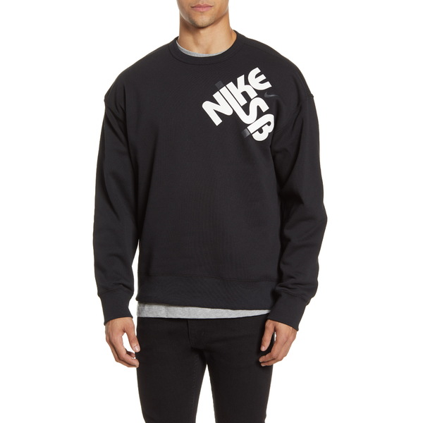 ナイキ メンズ シャツ トップス Icon Crewneck Sweatshirt Black/ White