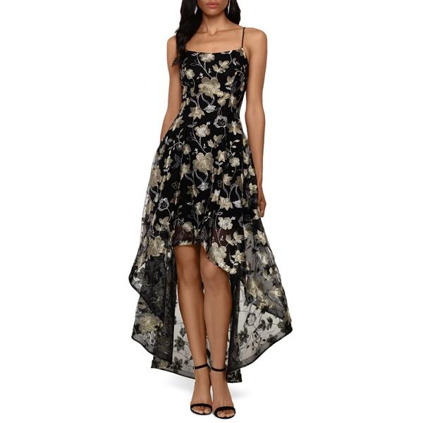 エスケープ レディース ワンピース トップス Embroidered Lace High/Low Gown Black/ Gold/ Silver