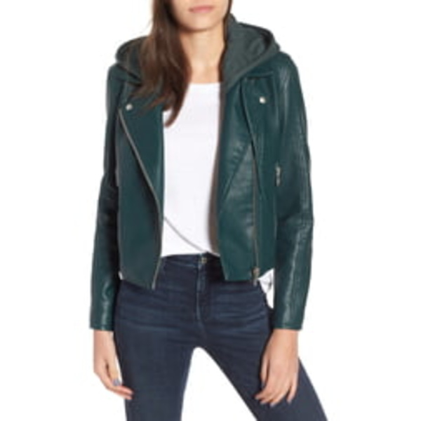 ブランクニューヨーク レディース ジャケット&ブルゾン アウター Meant to Be Moto Jacket with Removable Hood Evergreen