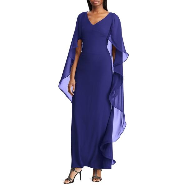 ラルフローレン Blue レディース トップス ワンピース トップス Cape-Overlay Chiffon Dress Dress Blue, 一天堂:2de493b8 --- officewill.xsrv.jp
