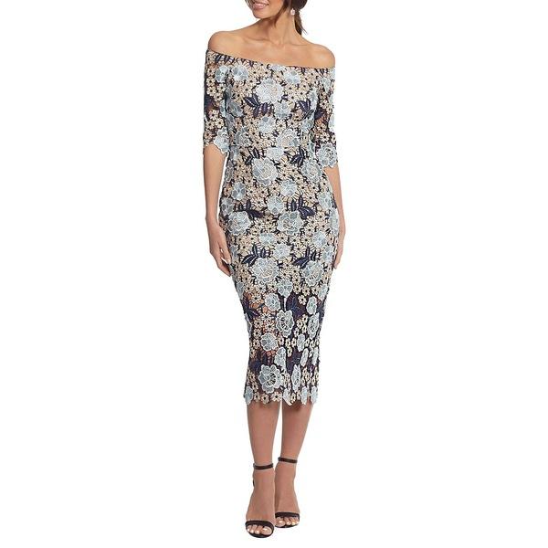 エスケープ Dress レディース エスケープ ワンピース トップス ワンピース Floral Off-the-Shoulder Sheath Dress Blue, shopウィンクル:fa5488dd --- officewill.xsrv.jp
