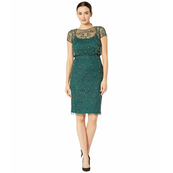 アドリアナ パペル レディース ワンピース トップス Beaded Blouson Cocktail Dress Dusty Emerald