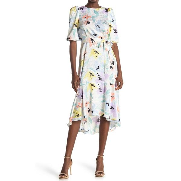 バーゲンセール カルバンクライン 売却 レディース トップス ワンピース SEAS MULTI Midi Floral Belted 全商品無料サイズ交換 Dress Jacquard