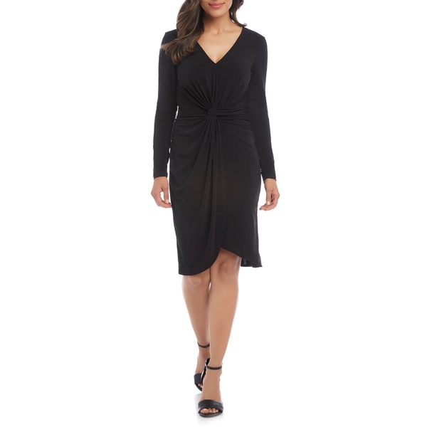 カレンケーン レディース ワンピース トップス Karen Kane Meghan Long Sleeve Faux Wrap Dress Black