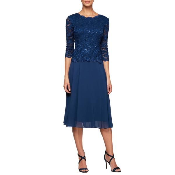 アレックスイブニングス レディース ワンピース トップス Alex Evenings Mock Two-Piece Tea Length Dress Cobalt