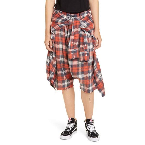 アールサーティーン レディース カジュアルパンツ ボトムス R13 Plaid Flannel Shorts Red/ Blue Plaid