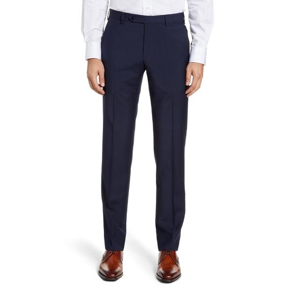 ザネッラ メンズ カジュアルパンツ ボトムス Zanella Parker Flat Front Plaid Wool Dress Pants Navy