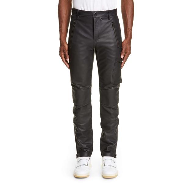 アクネ ストゥディオズ メンズ カジュアルパンツ ボトムス Acne Studios Ladon Zip Detail Leather Dress Pants Black