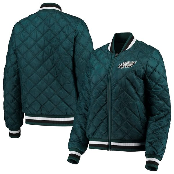 カールバンクス レディース ジャケット&ブルゾン アウター Philadelphia Eagles G-III 4Her by Carl Banks Women's Goal Line Quilted Bomber Full-Zip Jacket Midnight Green
