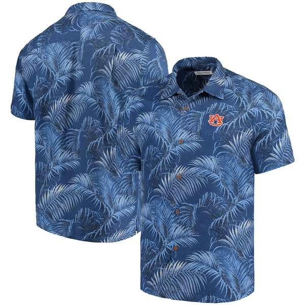 トッミーバハマ メンズ シャツ トップス Auburn Tigers Tommy Bahama Fez Fronds Silk Camp Shirt Navy