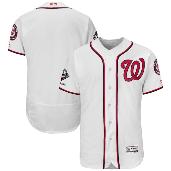マジェスティック メンズ シャツ トップス Washington Nationals Majestic 2019 World Series Champions Home Flex Base Bar Patch Jersey White