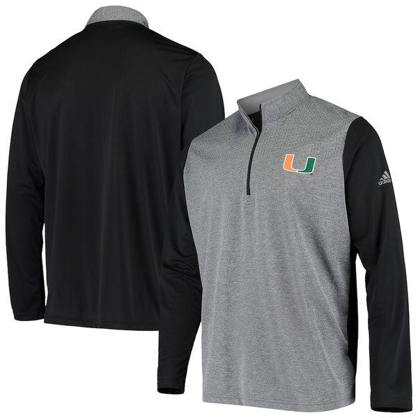 アディダス メンズ ジャケット&ブルゾン アウター Miami Hurricanes adidas College UPF Quarter-Zip Pullover Jacket Charcoal