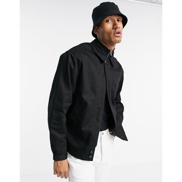 エイソス メンズ ジャケット&ブルゾン アウター ASOS DESIGN oversized harrington jacket with storm flap in black Black