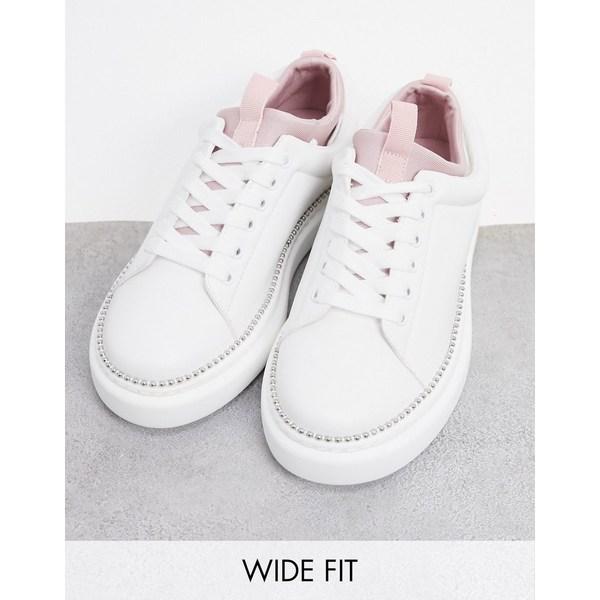 エイソス レディース シューズ スニーカー White pink 全商品無料サイズ交換 タイムセール ASOS DESIGN Wide white lace Varied up Fit in 期間限定の激安セール sneakers chunky