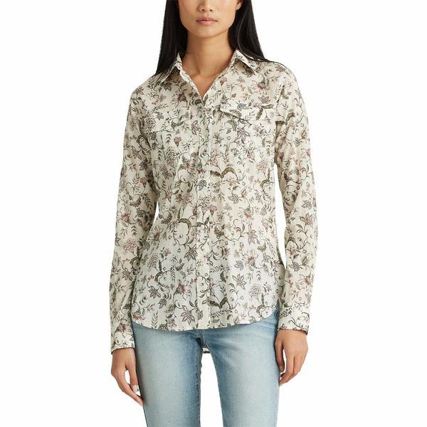 ラルフローレン レディース シャツ トップス Floral Cotton Shirt Mascarpone Cream Multi