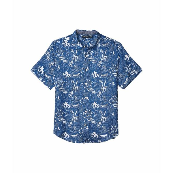 ナウティカ メンズ シャツ トップス Short Sleeve Linen Print Blue