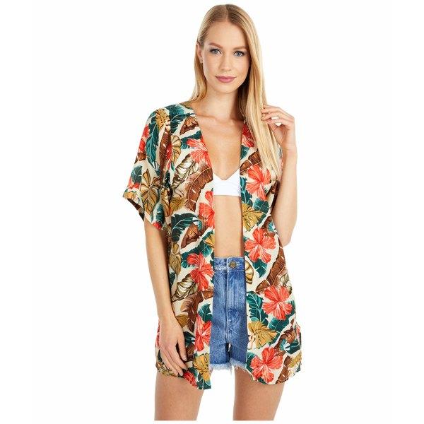 リップカール レディース シャツ トップス Tropic Coast Kimono Hot Coral