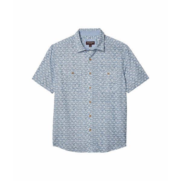 ジョンストンアンドマーフィー メンズ シャツ トップス Short Sleeve Floral Chambray Blue