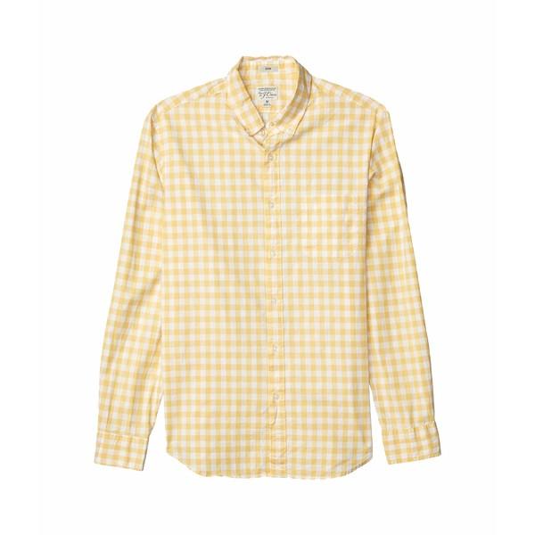 ジェイクルー メンズ シャツ トップス Slim Stretch Secret Wash Shirt in Organic Cotton Gingham Van Buren Gingham Yellow/White