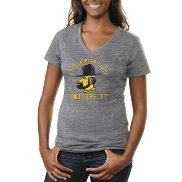 ファナティクス レディース Tシャツ トップス Appalachian State Mountaineers Women's Vintage Arch 'n Logo TriBlend VNeck TShirt Ash