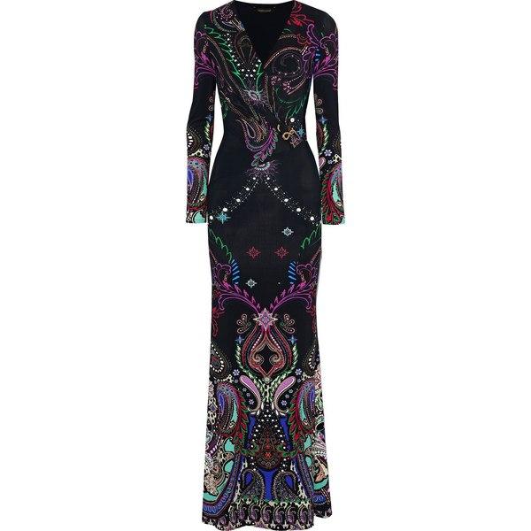 ロベルトカヴァリ レディース ワンピース トップス Wrap-effect embellished printed jersey gown Black