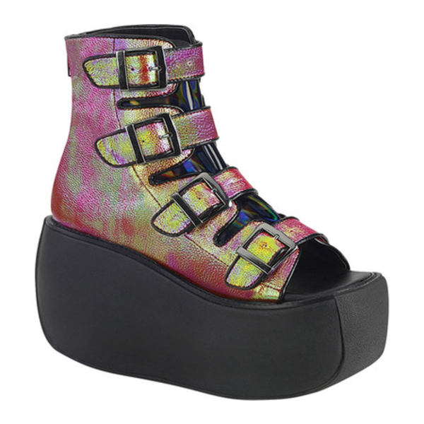 デモニア レディース ブーツ&レインブーツ シューズ Violet 150 Platform Open Toe Bootie Pink/Green Iridescent Vegan Leather/Hologram