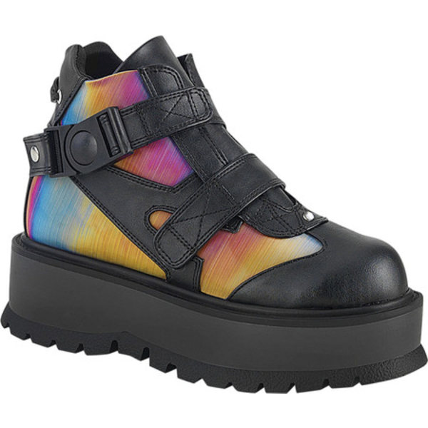 デモニア レディース ブーツ&レインブーツ シューズ Slacker 32 Platform Bootie Black Vegan Leather/Rainbow Reflective