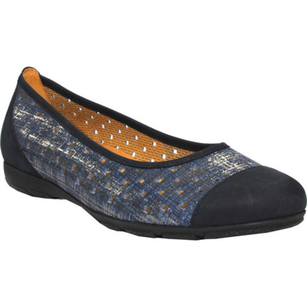 ガボール レディース サンダル シューズ 64-169 Punched Detail Ballet Flat Cotton/Blue/Nightblue Metallic/Nubuck