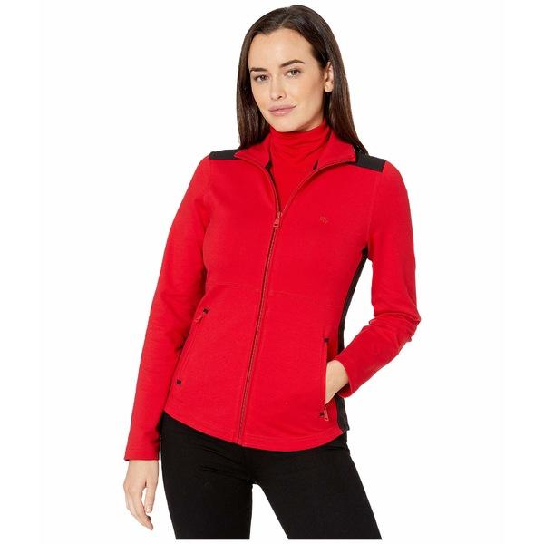 ラルフローレン レディース コート アウター Color-Blocked Cotton-Blend Jacket Lipstick Red/Polo Black